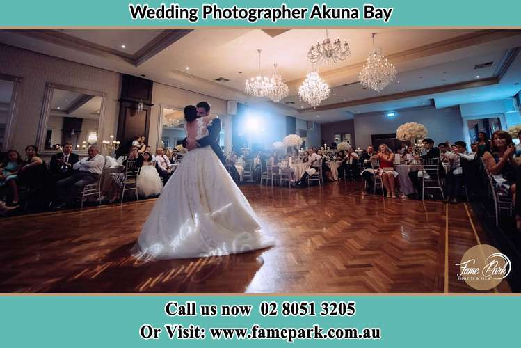 Photo of the Bride and the Groom hugging on the dance floor Akuna Bay NSW 2084