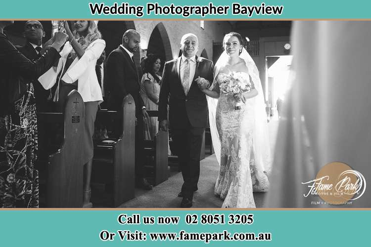 Photo of the Bride with her father walking the aisle Bayview NSW 2104