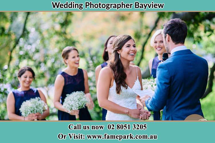 Photo of the Groom testifying his love to the Bride Bayview NSW 2104