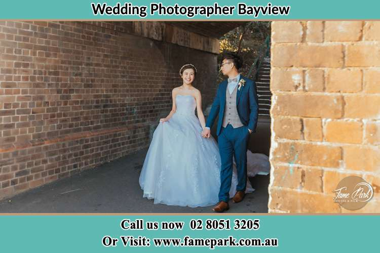 Photo of the Bride and the Groom walking Bayview NSW 2104