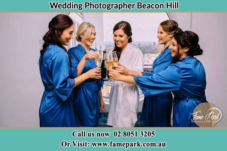 Photo of the Bride and the bridesmaids having wine Beacon Hill NSW 2100