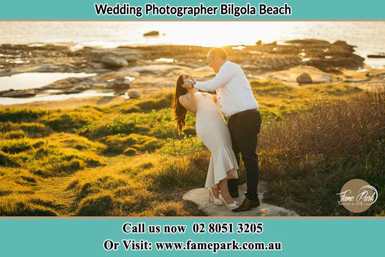Photo of the Bride and the Groom dancing near the lake Bilgola Beach NSW 2107