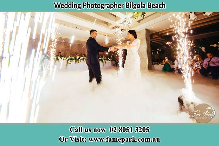 Photo of the Groom and the Bride dancing at the dance floor Bilgola Beach NSW 2107