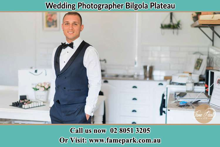 The Groom smiling on camera Bilgola Plateau NSW 2107