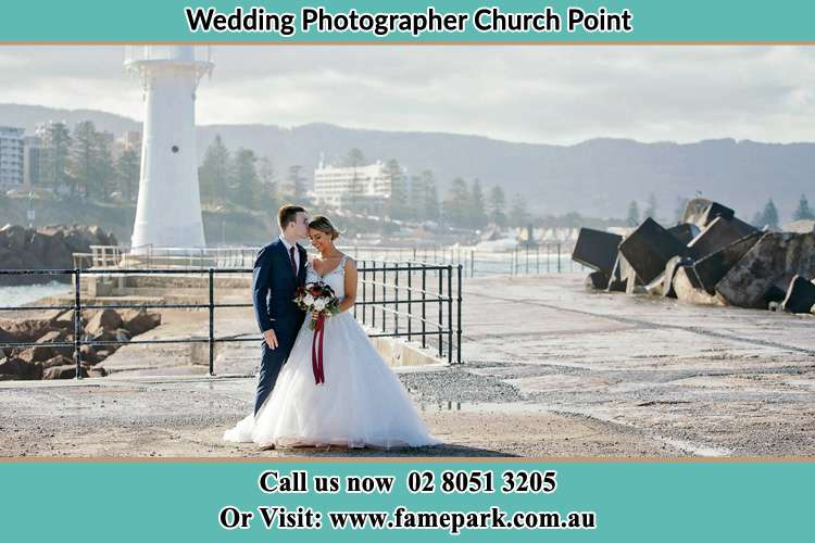 Photo of the Bride and Groom at the Watch Tower Church Point NSW 2105