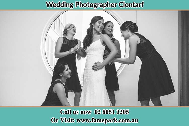 Photo of the Bride and the bridesmaids near the window Clontarf NSW 2093