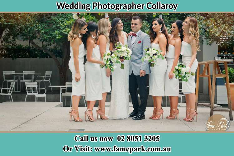 Photo of the Bride and the Groom with the bridesmaids Collaroy NSW 2097