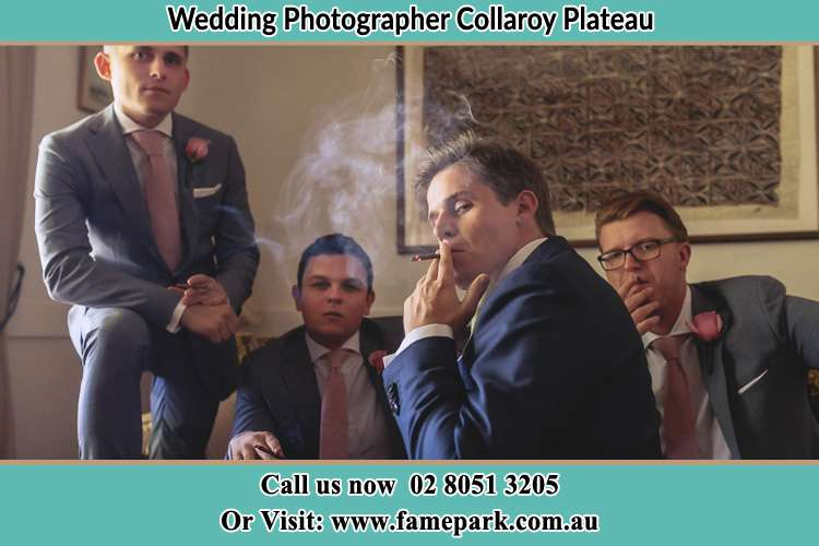 Photo of the Groom and the groomsmen relaxing Collaroy Plateau NSW 2097