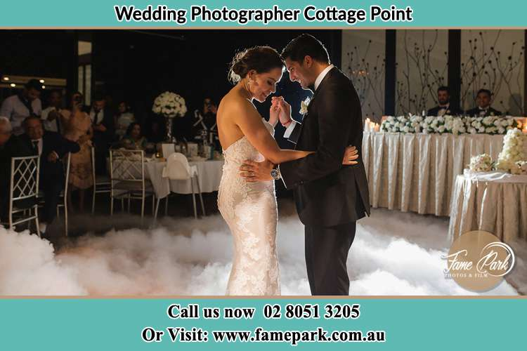 Photo of the Groom and the Bride dancing on the dance floor Cottage Point NSW 2084