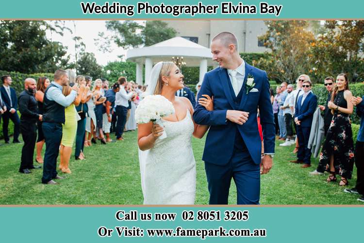 Photo of the Bride and the Groom happily looking each other Elvina Bay NSW 2105