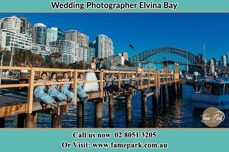 Photo of the Groom and the Bride with the entourage at the bridge Elvina Bay NSW 2105
