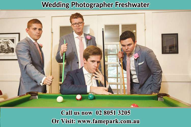 Photo of the Groom and the groomsmen playing billiard Freshwater NSW 2096