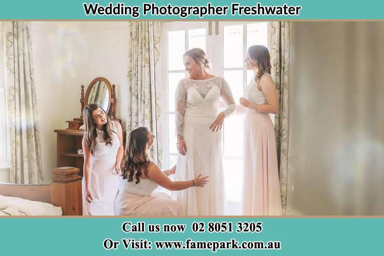 Photo of the Bride and the bridesmaids preparing Freshwater NSW 2096