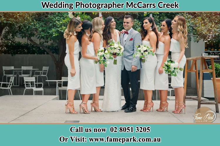 Photo of the Bride and the Groom with the bridesmaids McCarrs Creek NSW 2105