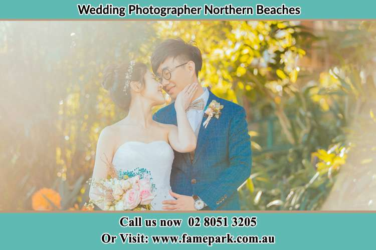 Garden photo shoot with the couple Northern Beaches