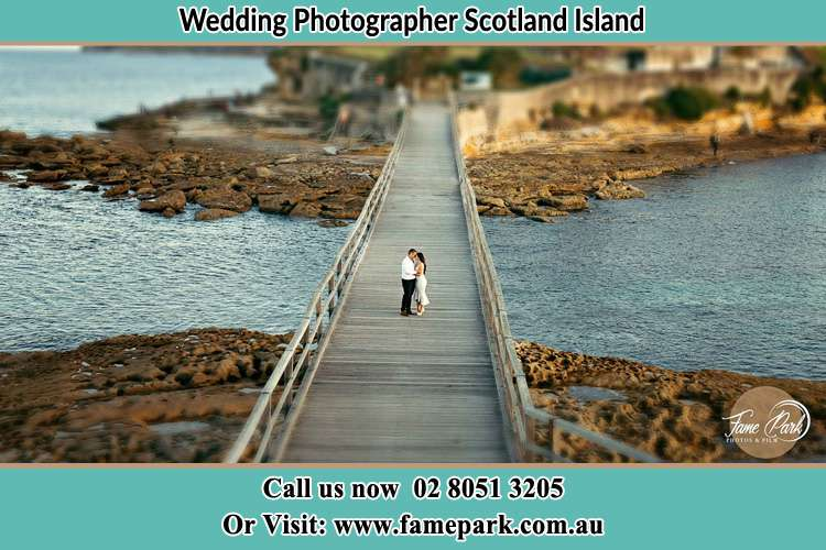 Photo of the Groom and the Bride at the bridge Scotland Island NSW 2105